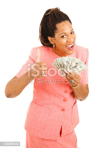 istock African-American Woman Holding Cash 120335442