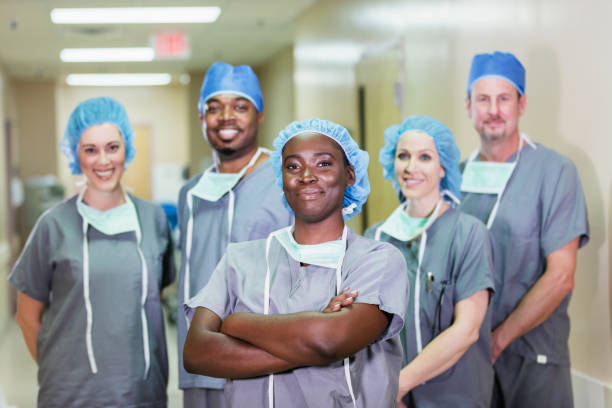 African-American woman on team of medical professionals stock photo