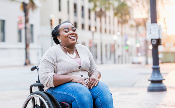African-American woman with spina bifida stock photo