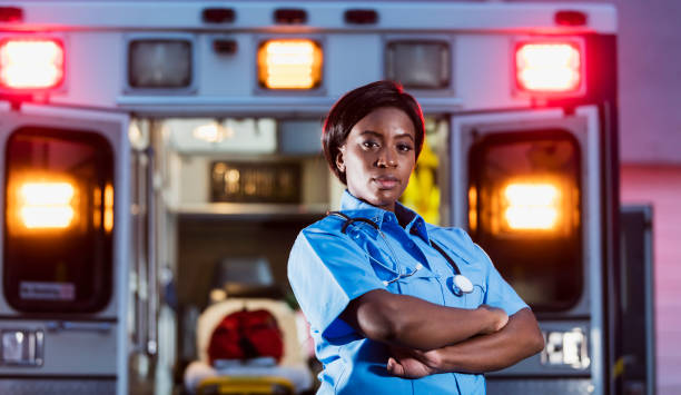 African-American woman working as paramedic stock photo