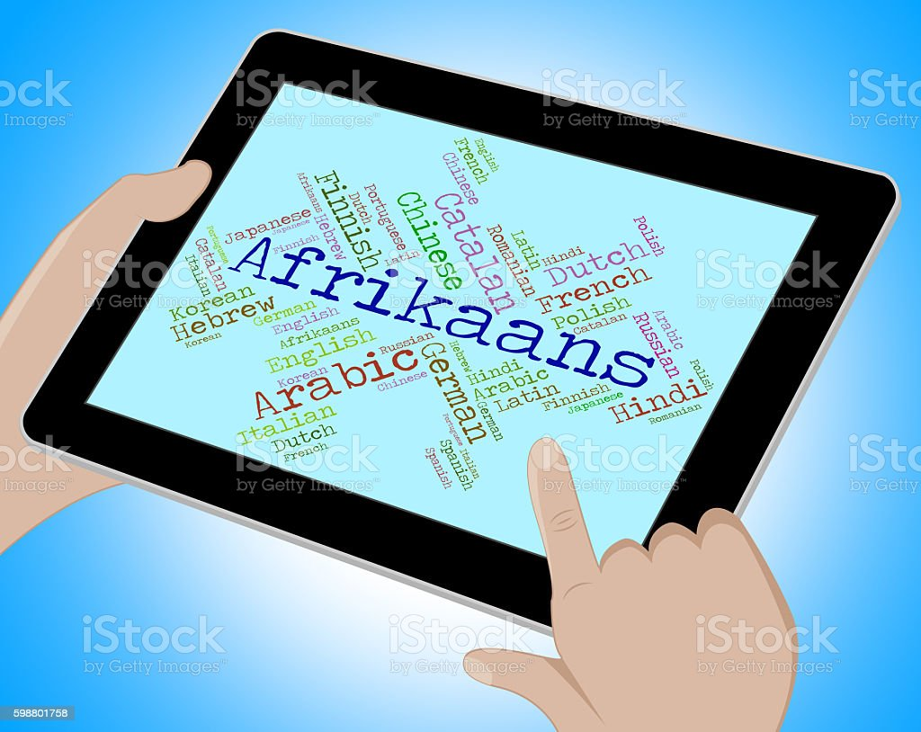 Afrikaans Language Indicates South Africa And Germanic stock photo