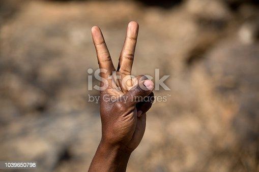 zwei Finger einer afrikanischen Hand