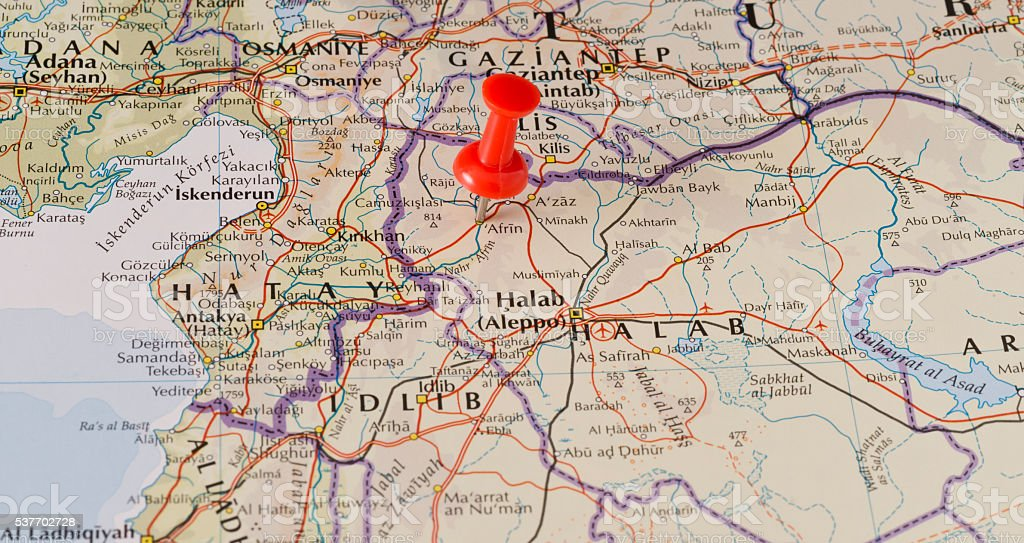 Afrin Marked on Map with Red Pushpin stock photo