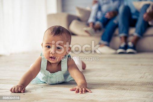 istock Afro American baby girl 598064516