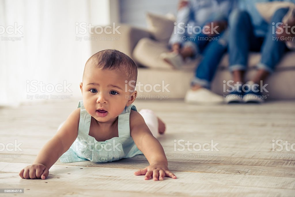 Afro American baby girl stock photo
