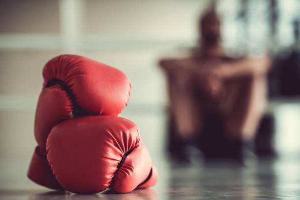 Afro americano boxeador - foto de stock