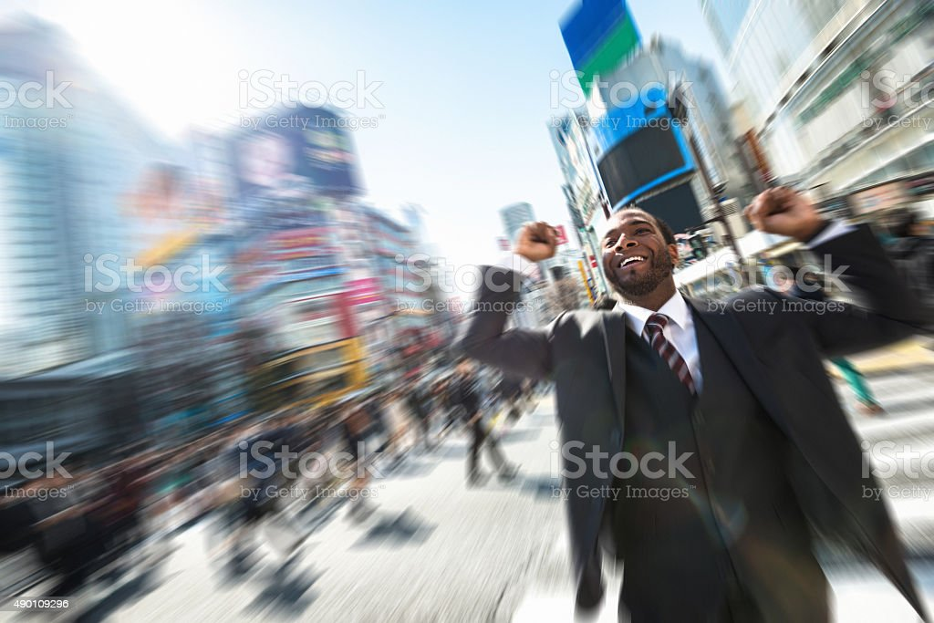 Afro american Business happiness in Shibuya , Tokyo stock photo
