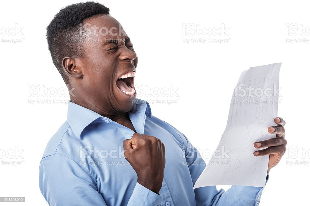 Afro American businessman screaming with happiness stock photo