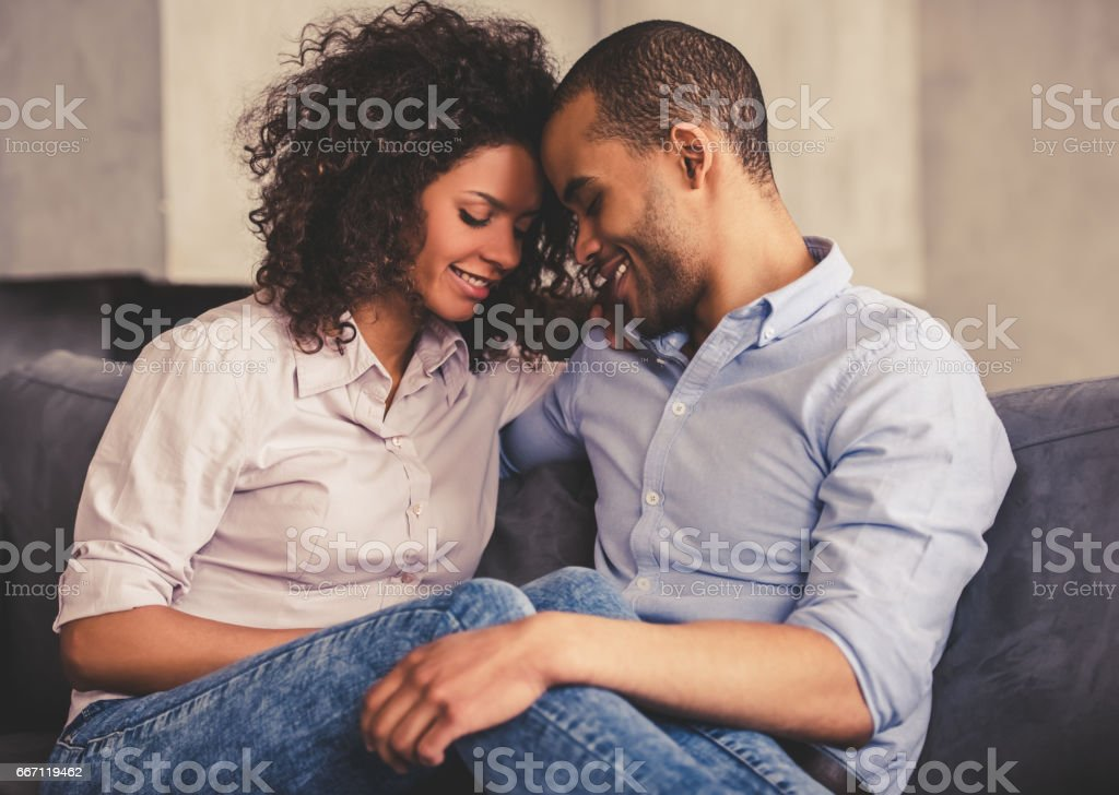 Afro American couple at home stock photo