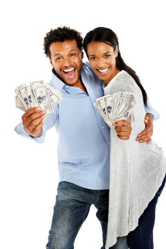 istock Afro American couple excited about money 174782853