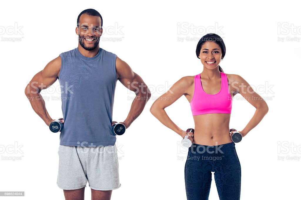 Afro American couple working out stock photo