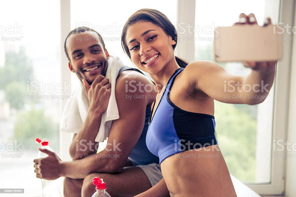 Afro American couple working out - Photo