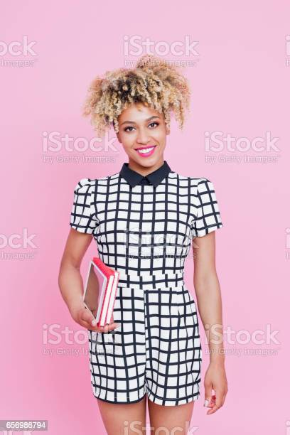 Afro American Cute Woman Holding Books Stock Photo - Download Image Now