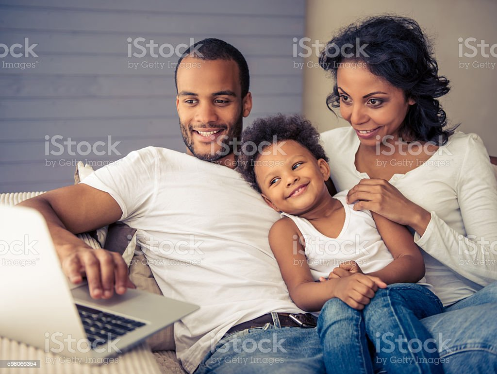 Afro American family stock photo