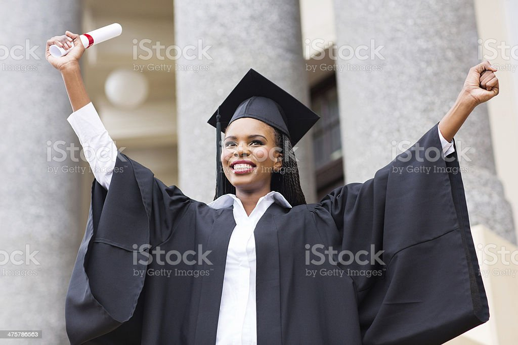 afro american female graduate stock photo