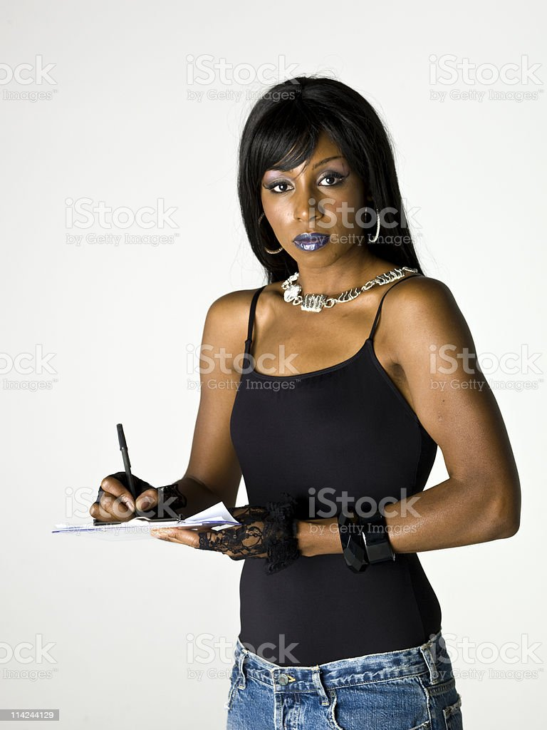 Afro american female  signing the model release royalty-free stock photo