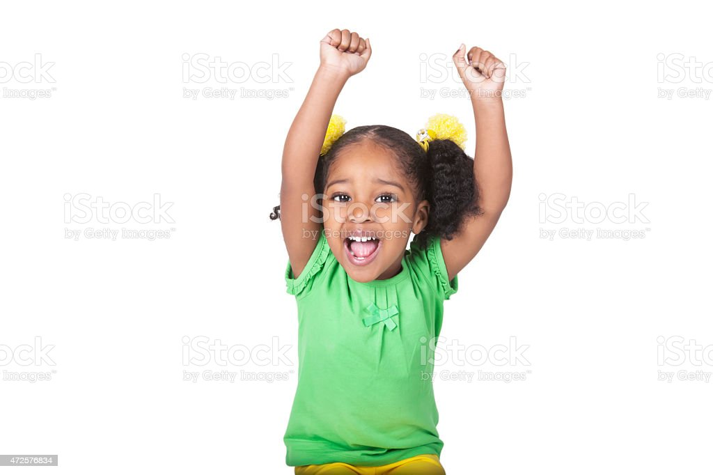 Afro american four year old girl with hands raised  rm stock photo