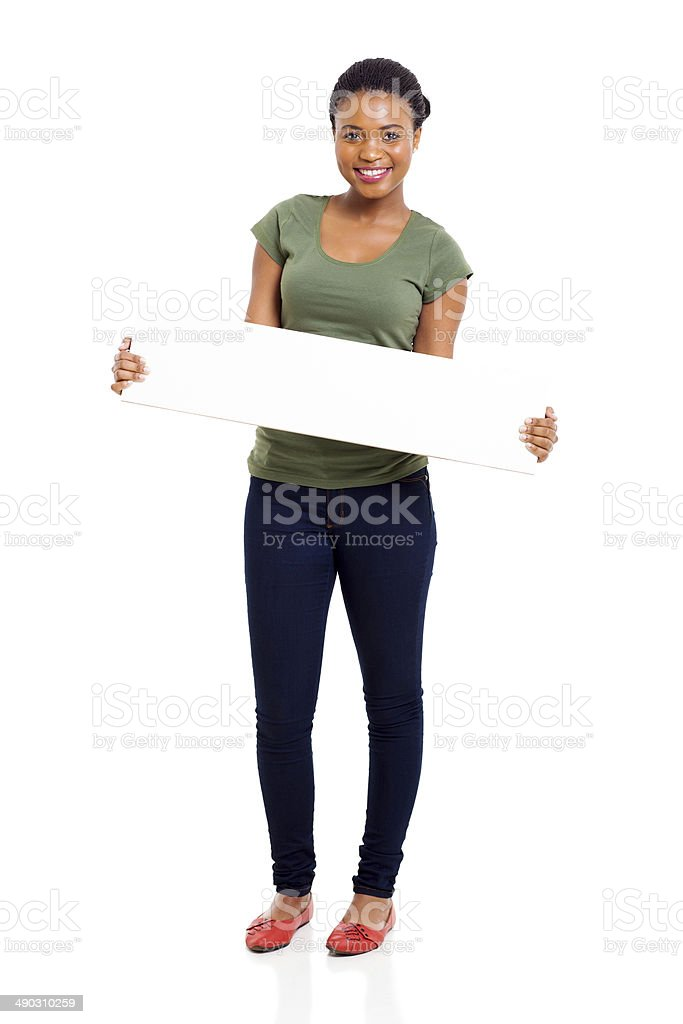 afro american girl holding white board stock photo