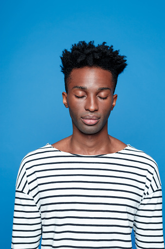 Afro American Guy Closing Eyes Stock Photo - Download Image Now