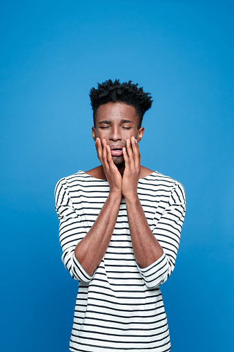 Afro American Guy Crying Stock Photo - Download Image Now