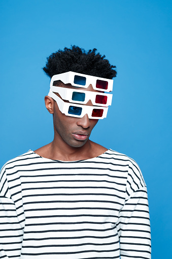 Afro American Guy Wearing 3d Glasses Stock Photo - Download Image Now
