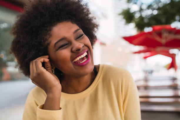 Afro american latin woman smiling. stock photo