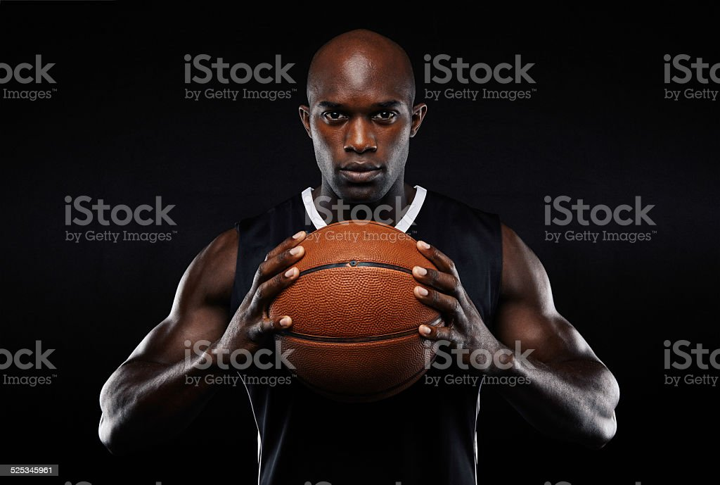 Afro american male basketball player with a ball stok fotoğrafı