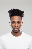 Afro american man with funky hairstyle