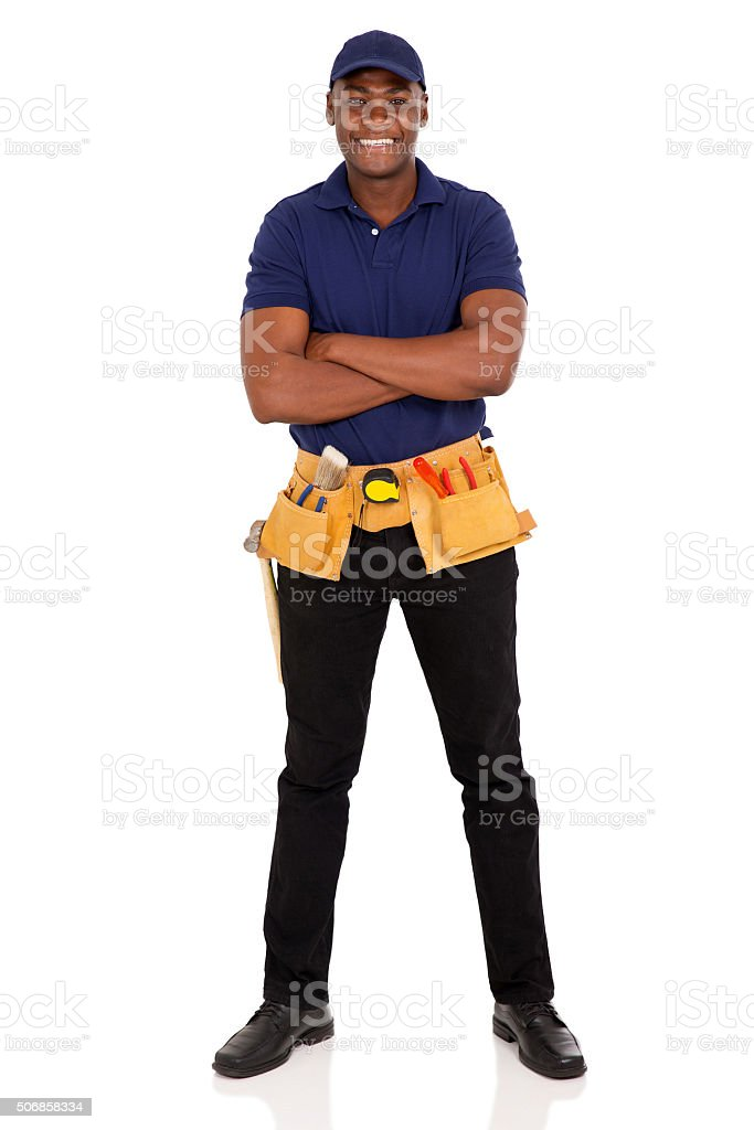 afro american repairman with arms crossed stock photo