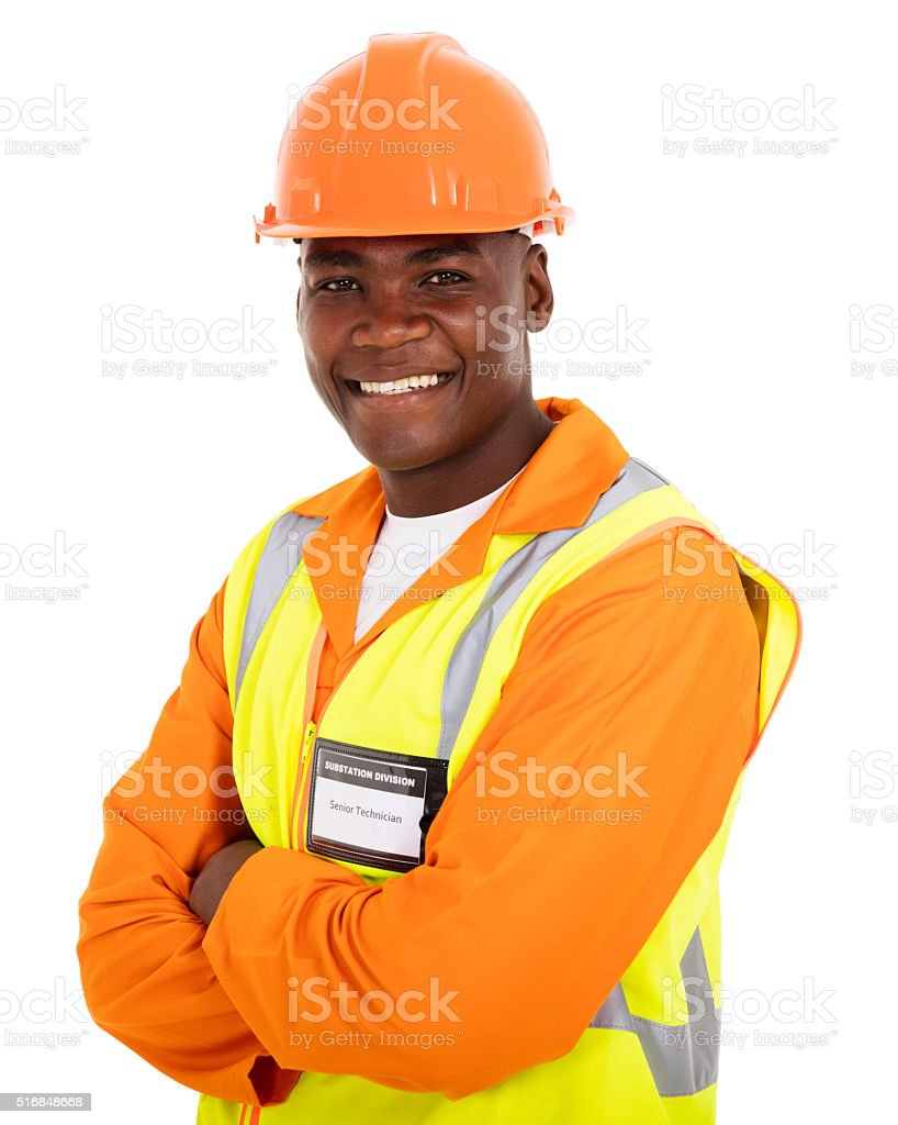 afro american technical worker arms crossed stock photo