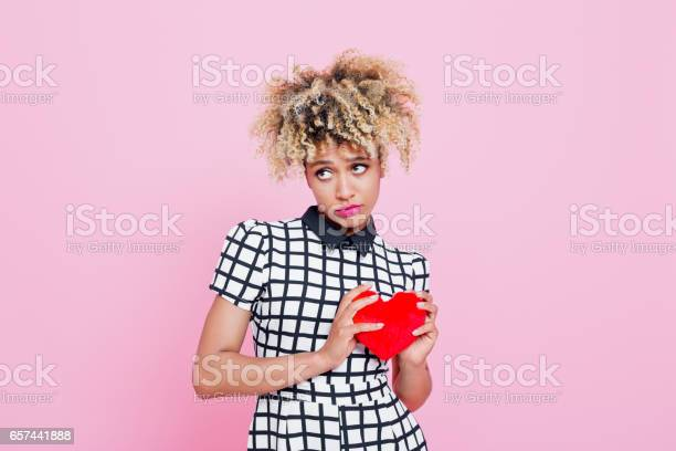 Afro American Woman Holding Red Heard Stock Photo - Download Image Now