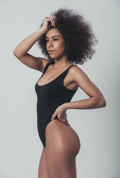 Afro American woman in lingerie stock photo