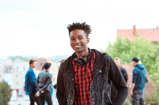 Afro American Young Guy Smiling Outdoor Stock Photo - Download Image Now