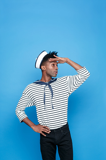 Afro American Young Sailor Looking Away Stock Photo - Download Image Now