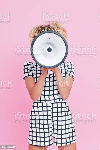 Afro American Young Woman Holding Megaphone Stock Photo - Download Image Now