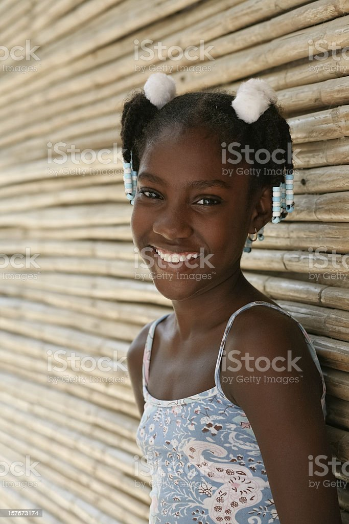 Afro caribbean little girl stock photo