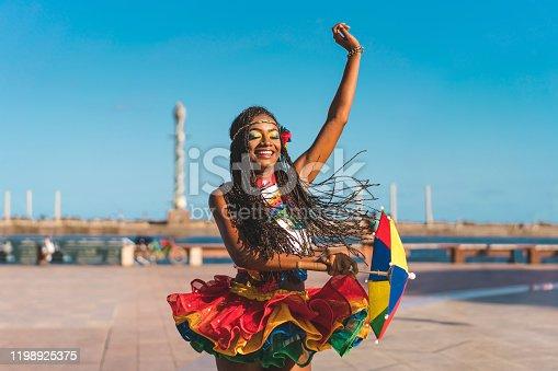 Frevo dance in Marco Zero, Recife city, Pernambuco state