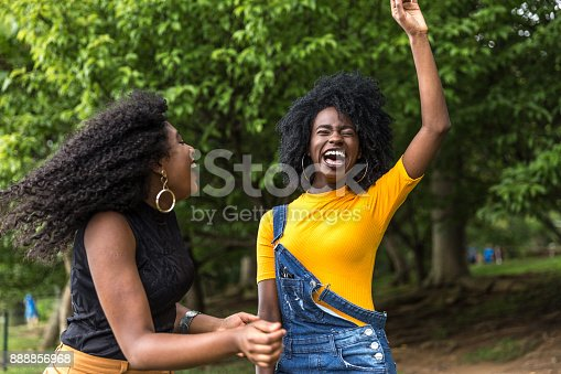 182677415 istock photo Afro descent girls dancing in the park 888856968