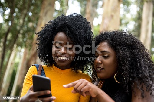 istock Afro descent girls using smartphone in the park 888836318