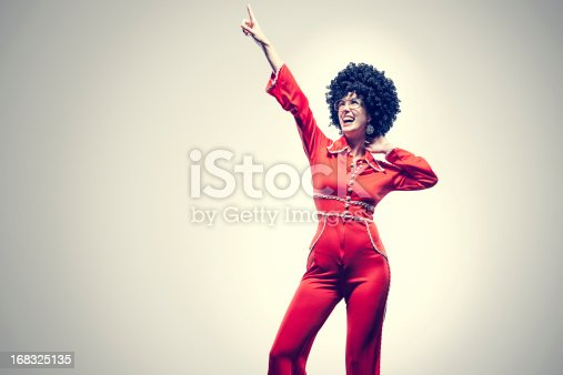 istock Afro Disco Dancer with Jumpsuit 168325135