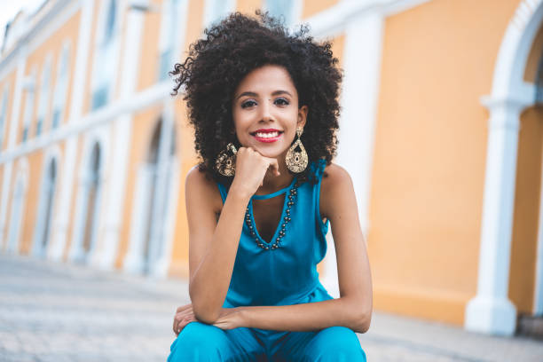 Afro fashion model Women, African Ethnicity, Smiling, Curly Hair, Beauty brazilian culture stock pictures, royalty-free photos & images