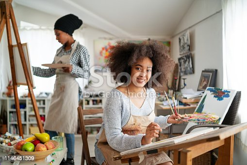 824254912 istock photo Afro Female fine artists drawing in studio 1146451309