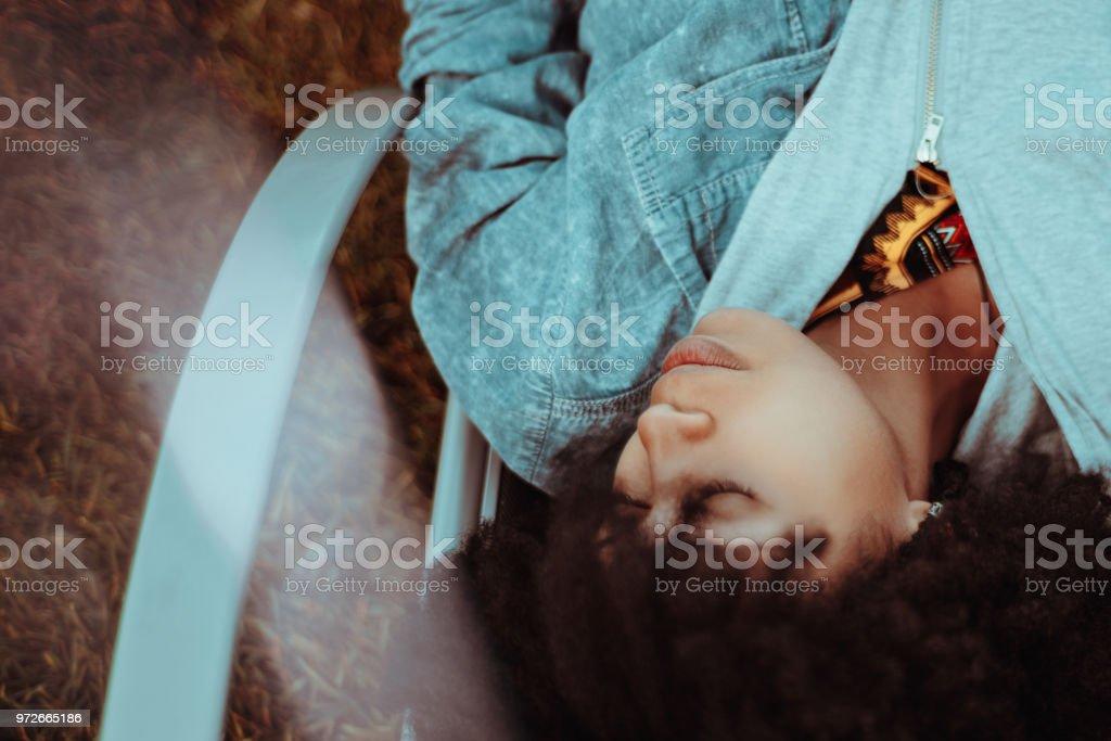 Ebony girl sleeping