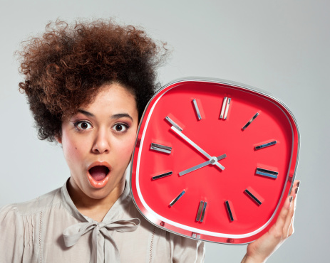 Afro Girl With Clock Stock Photo - Download Image Now