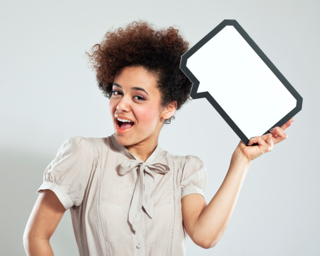 Afro Girl With Speech Bubble Stock Photo - Download Image Now
