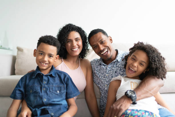 Afro Latin Family Portrait at Home Afro Latin Family Portrait at Home brazilian culture stock pictures, royalty-free photos & images