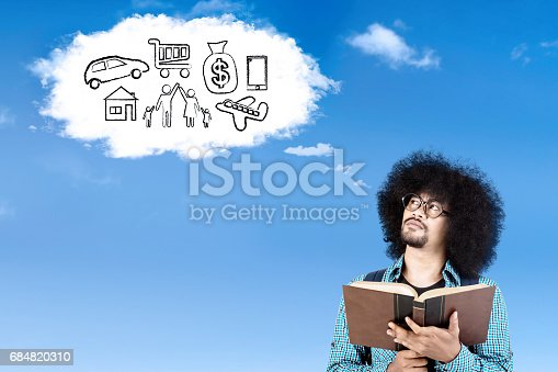 istock Afro student with book and his wishes 684820310