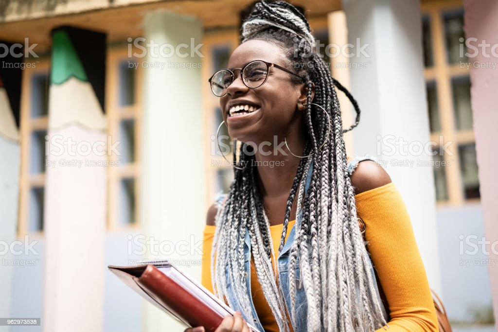 Afro Student/Teacher On the Move stock photo