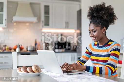 822557072 istock photo Afro Woman using laptop at home 1144711987