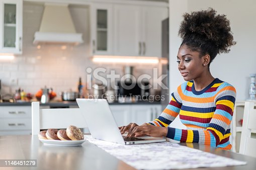 822557072 istock photo Afro Woman using laptop at home 1146451279